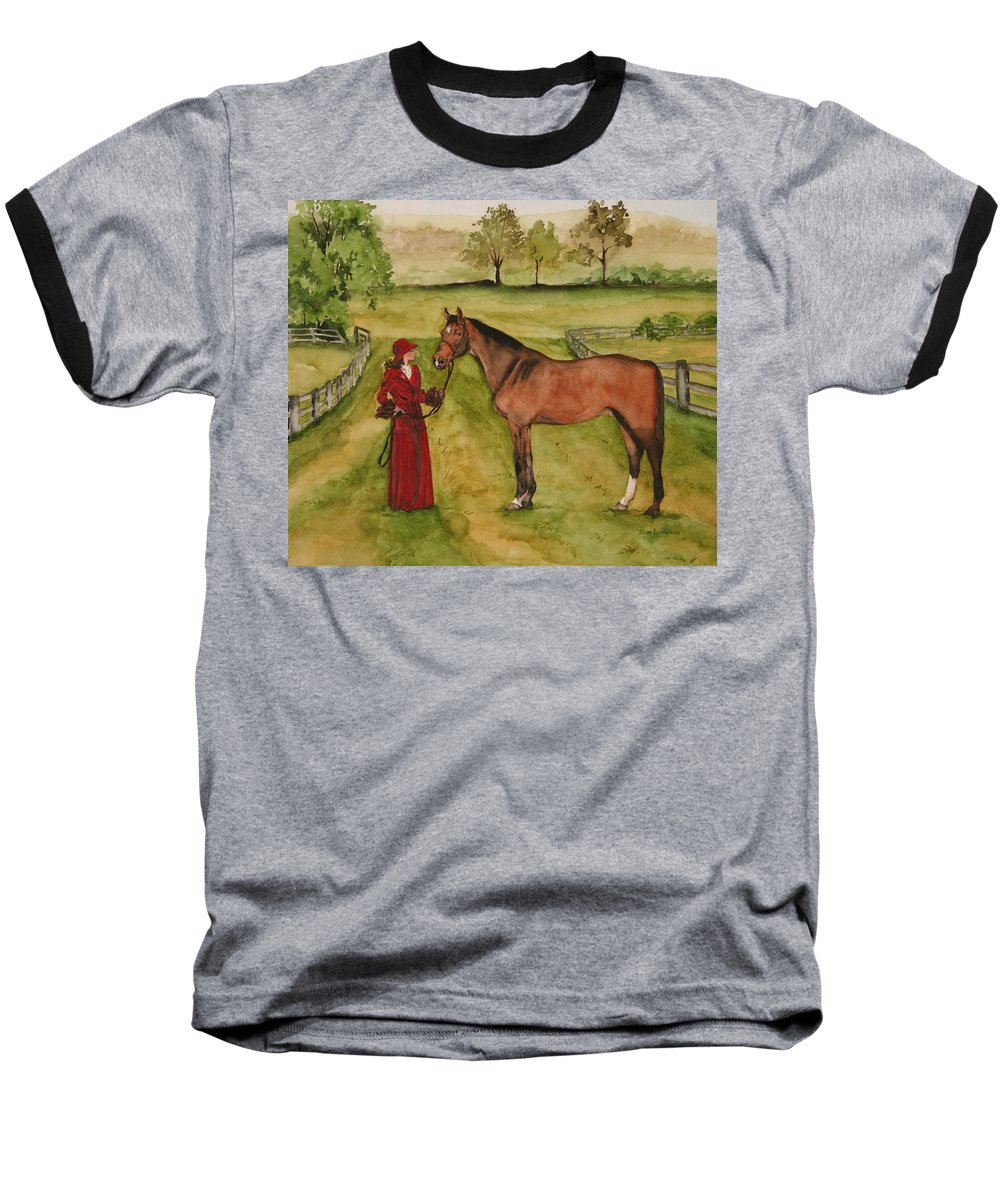 Horse Baseball T-Shirt featuring the painting Lady And Horse by Jean Blackmer