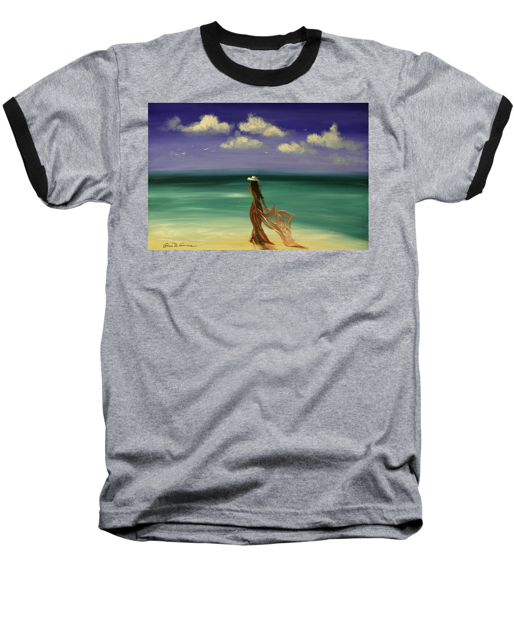 Nice Baseball T-Shirt featuring the painting Lady In Red by Gina De Gorna