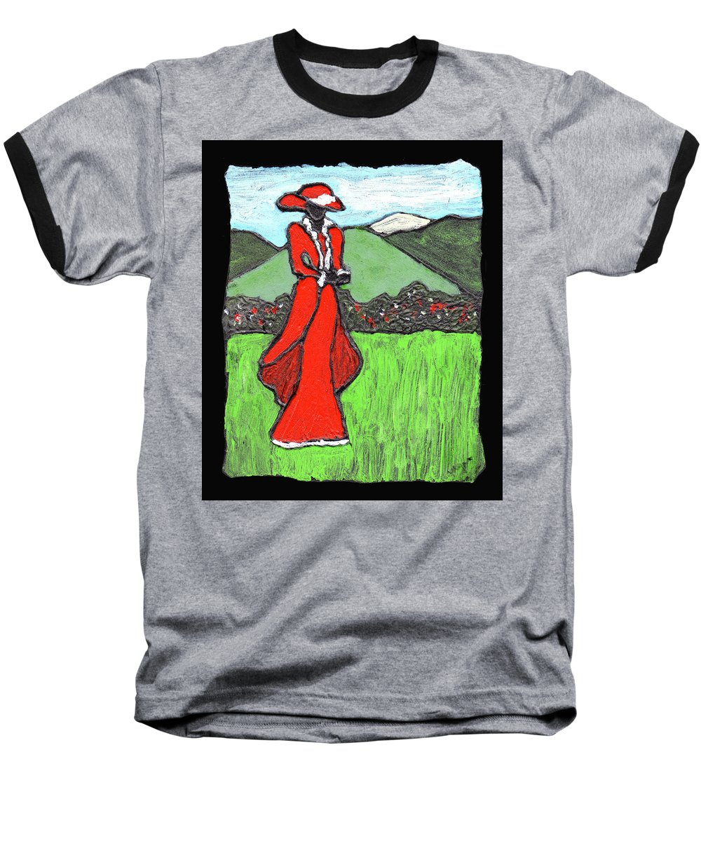 Red Baseball T-Shirt featuring the painting Lady In Red by Wayne Potrafka