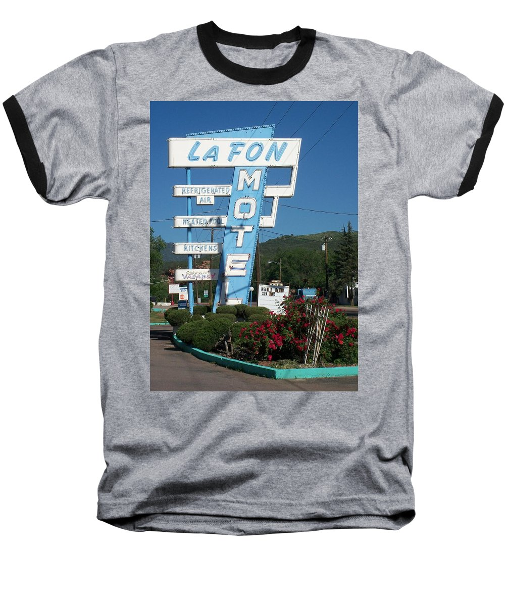 Vintage Motel Signs Baseball T-Shirt featuring the photograph Lafon Motel by Anita Burgermeister