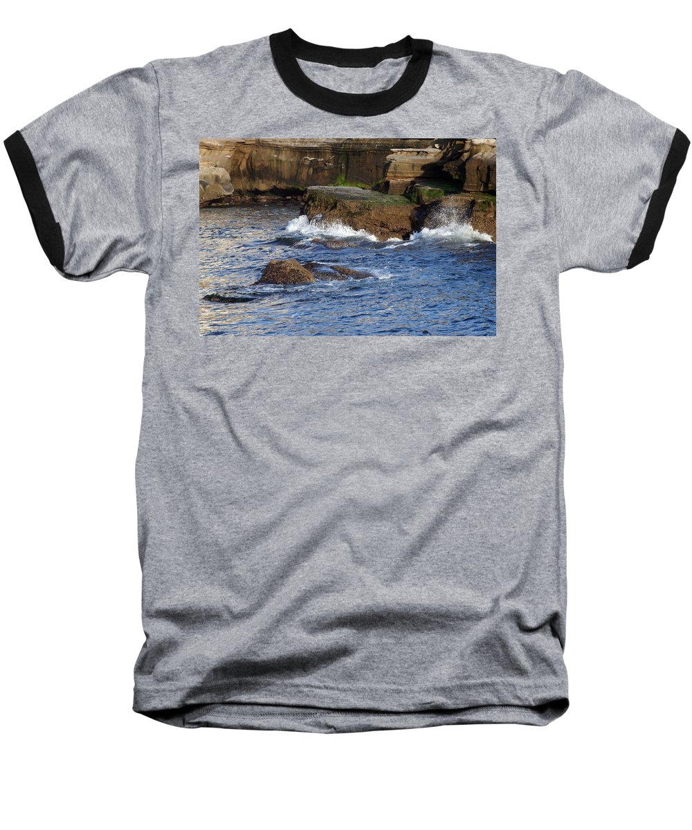 Ocean Baseball T-Shirt featuring the photograph Lajolla Rocks by Margie Wildblood