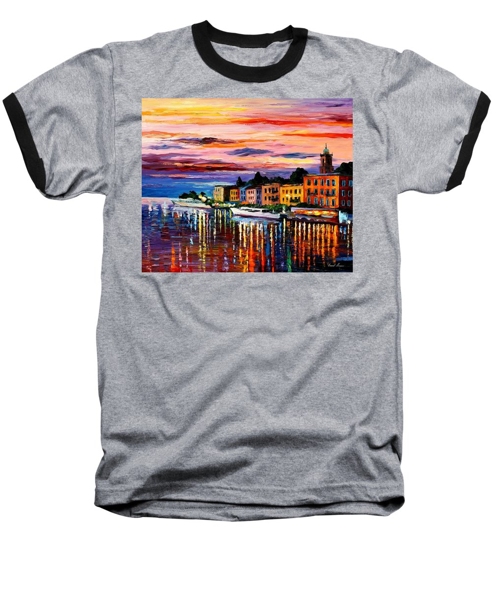 Cityscape Baseball T-Shirt featuring the painting Lake Como - Bellagio by Leonid Afremov