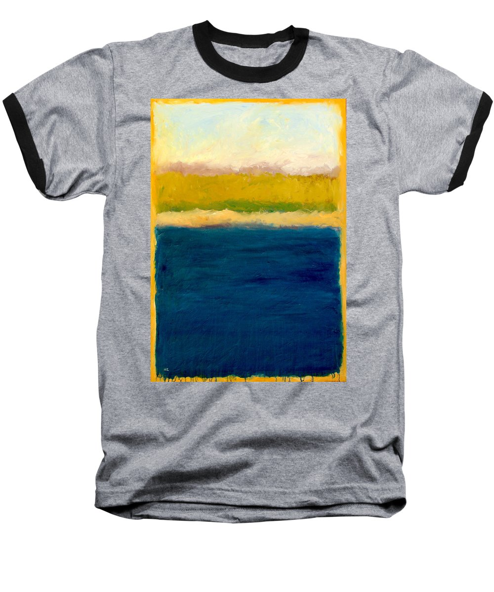 Dunes Baseball T-Shirt featuring the painting Lake Michigan Beach Abstracted by Michelle Calkins
