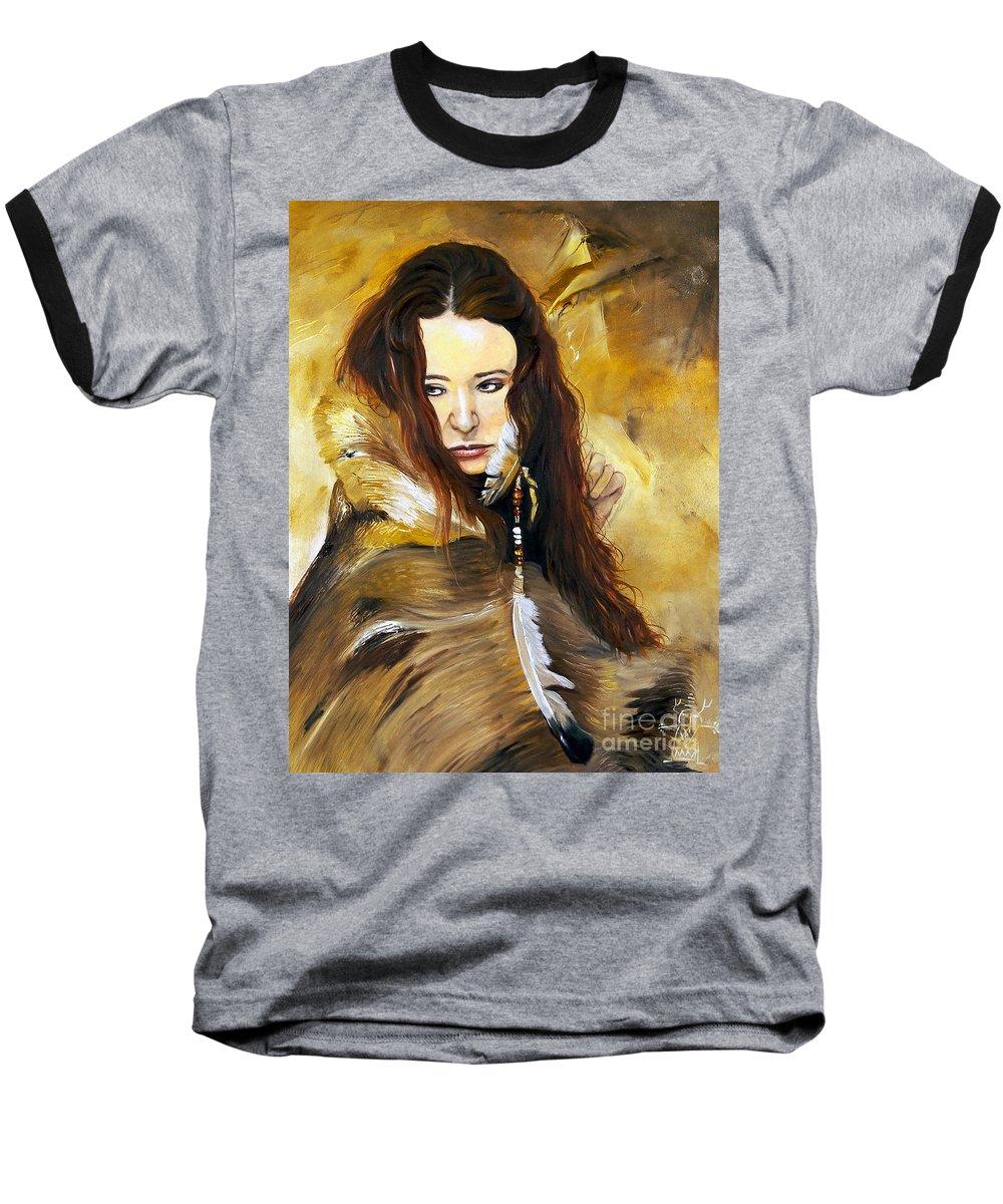 Southwest Art Baseball T-Shirt featuring the painting Lament by J W Baker