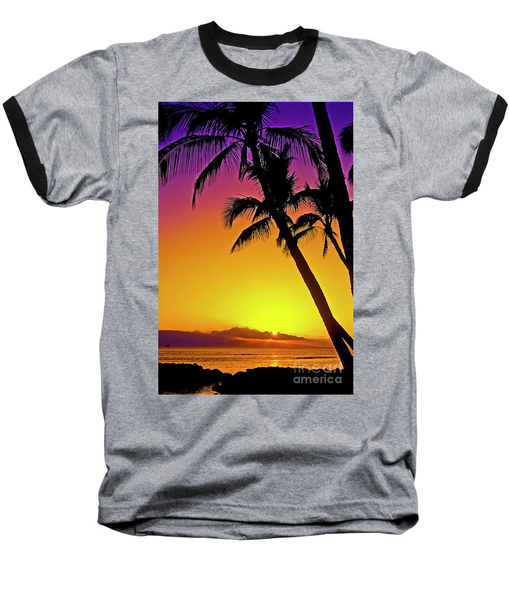 Sunset Baseball T-Shirt featuring the photograph Lanai Sunset II Maui Hawaii by Jim Cazel