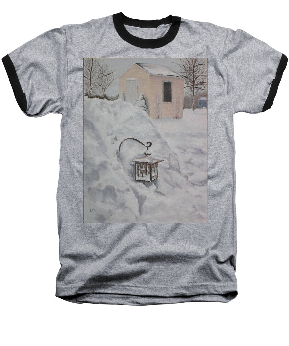 Snow Baseball T-Shirt featuring the painting Lantern In The Snow by Lea Novak