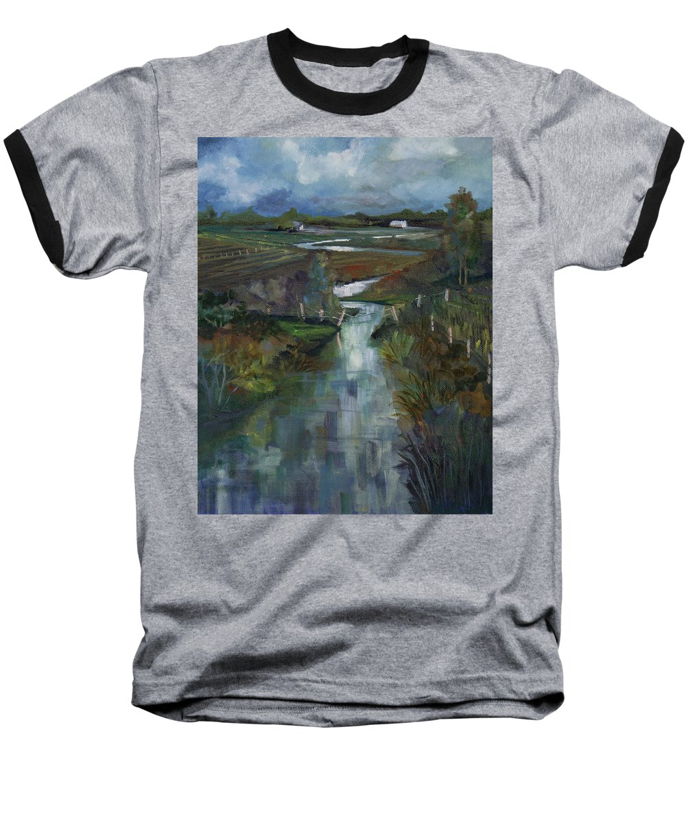 River Baseball T-Shirt featuring the painting Laramie River Valley by Heather Coen
