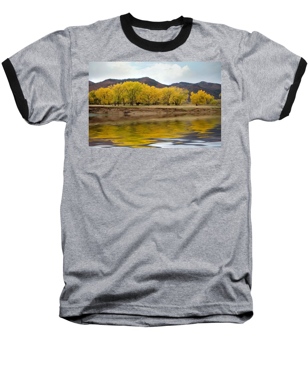 River Baseball T-Shirt featuring the photograph Las Animas Fall by Jerry McElroy