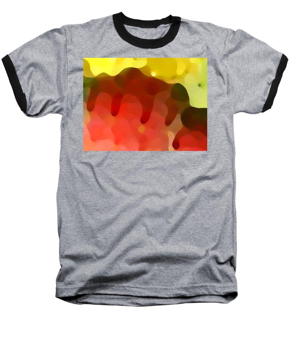 Abstract Baseball T-Shirt featuring the painting Las Tunas Ridge by Amy Vangsgard