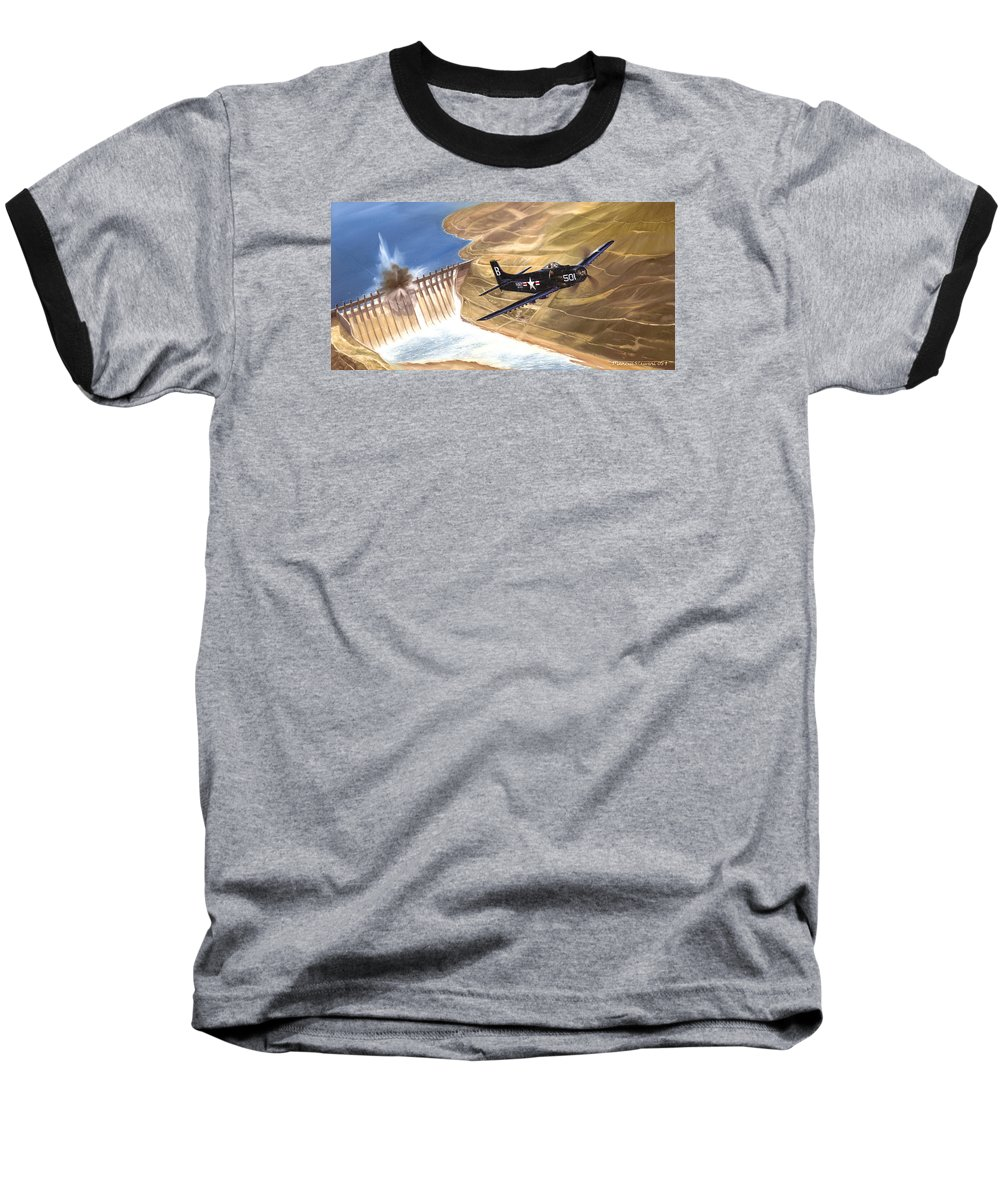 Military Baseball T-Shirt featuring the painting Last Of The Dambusters by Marc Stewart