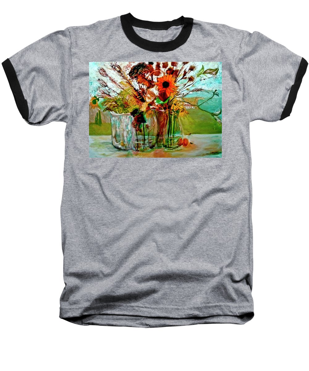 Flowers Jar Glass Thistle Picnic Green Lemon Rose Baseball T-Shirt featuring the painting Late Summer by Jack Diamond