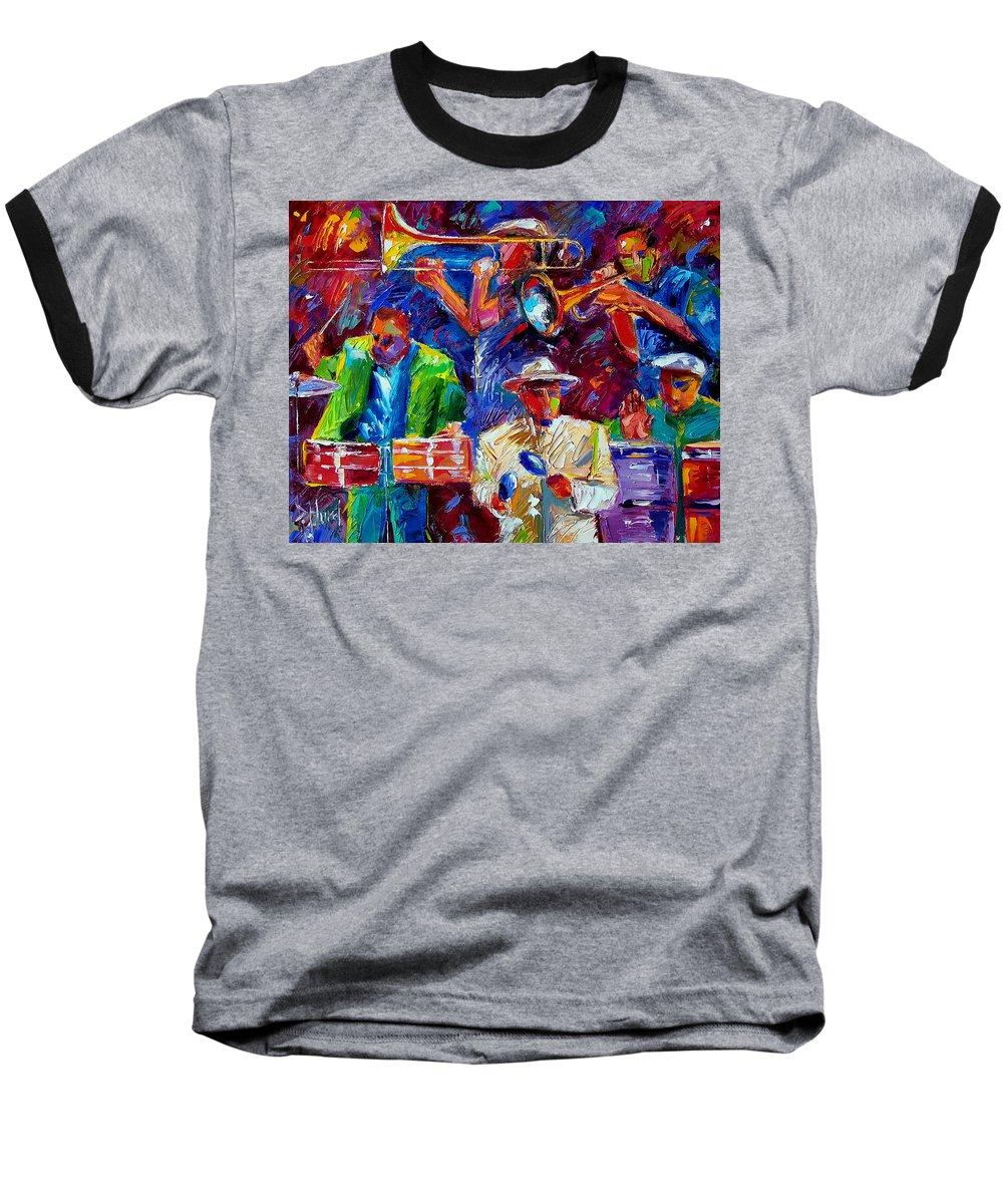 Jazz Baseball T-Shirt featuring the painting Latin Jazz by Debra Hurd