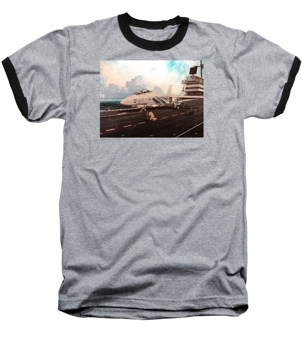 Military Baseball T-Shirt featuring the painting Launch The Alert 5 by Marc Stewart