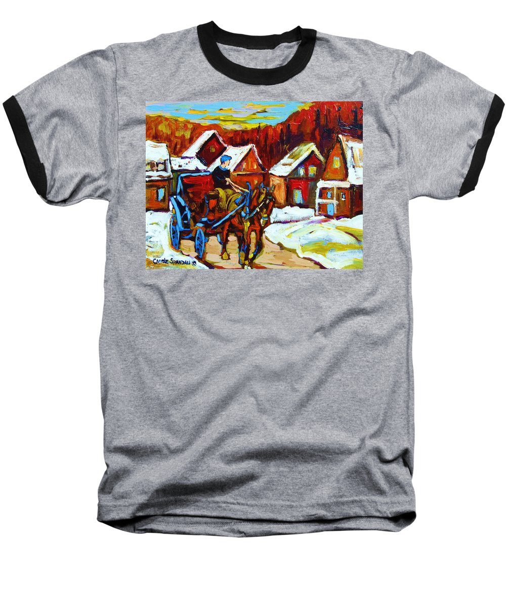 Horse And Carriage Baseball T-Shirt featuring the painting Laurentian Village Ride by Carole Spandau