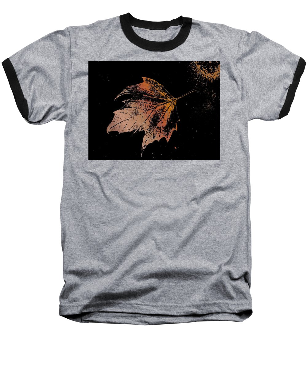 Digital Photo Manipulation Baseball T-Shirt featuring the digital art Leaf On Bricks by Tim Allen