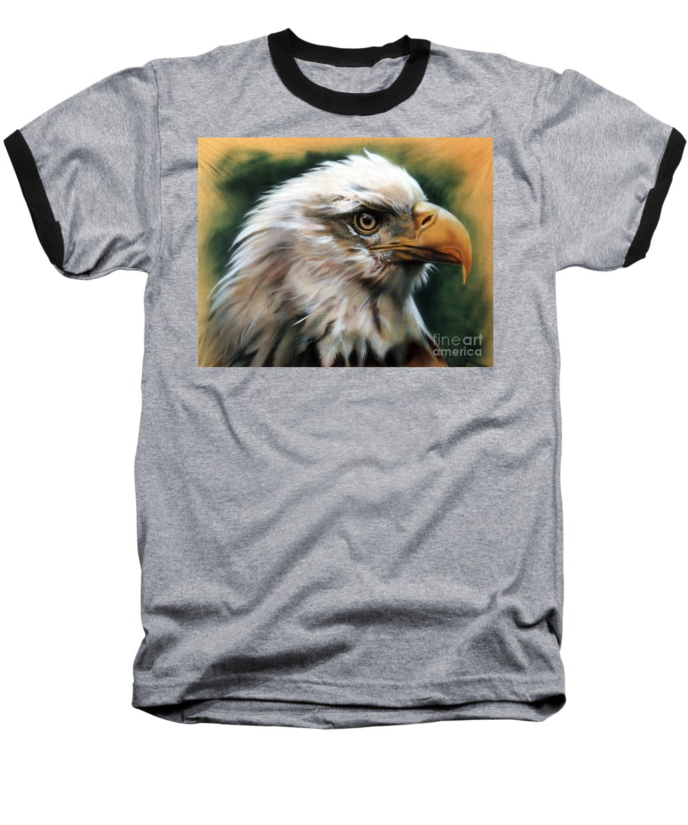 Southwest Art Baseball T-Shirt featuring the painting Leather Eagle by J W Baker