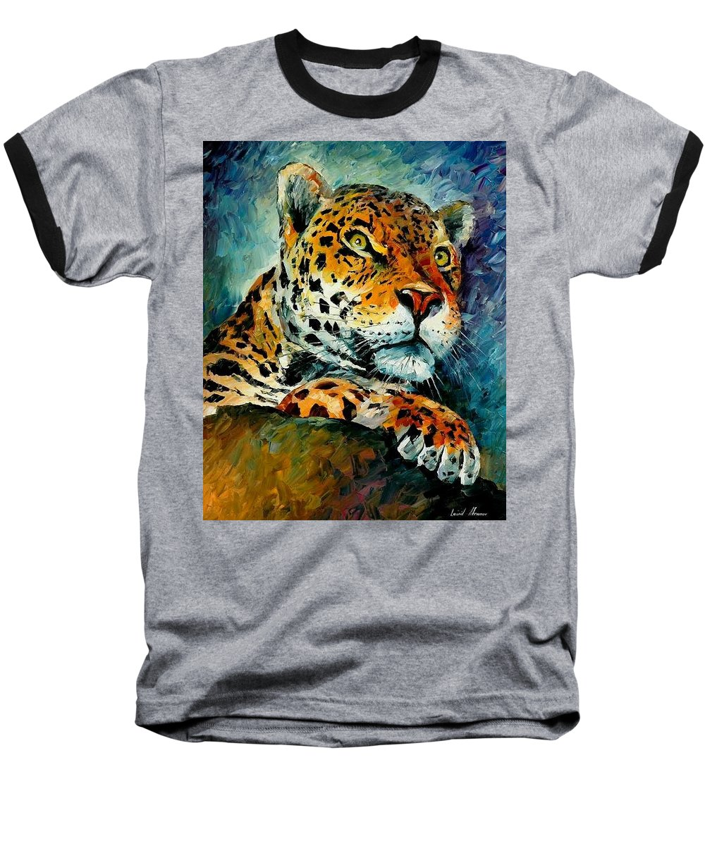 Animals Baseball T-Shirt featuring the painting Leopard by Leonid Afremov