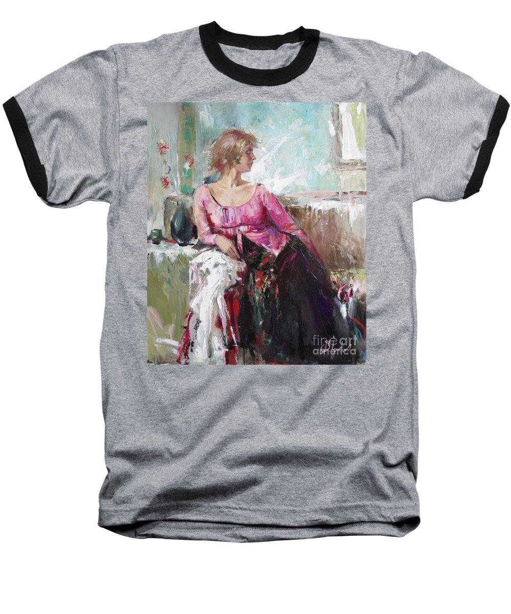 Ignatenko Baseball T-Shirt featuring the painting Lera by Sergey Ignatenko