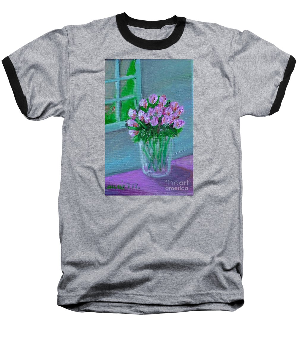 Rose Baseball T-Shirt featuring the painting Leslie's Roses by Laurie Morgan
