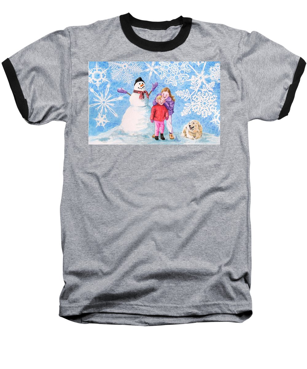 Snowman Baseball T-Shirt featuring the painting Let It Snow by Gale Cochran-Smith