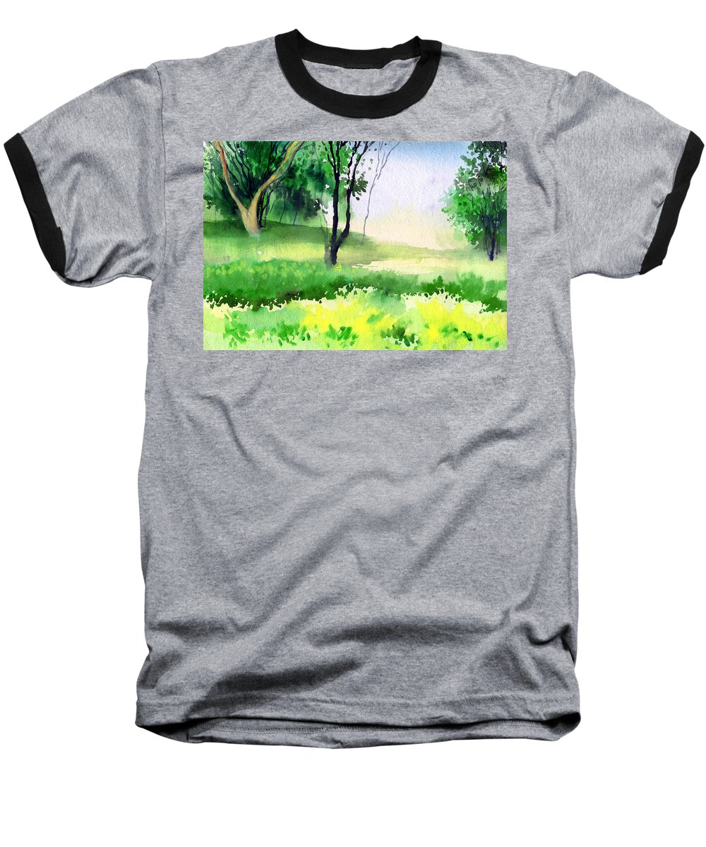Watercolor Baseball T-Shirt featuring the painting Let's Go For A Walk by Anil Nene