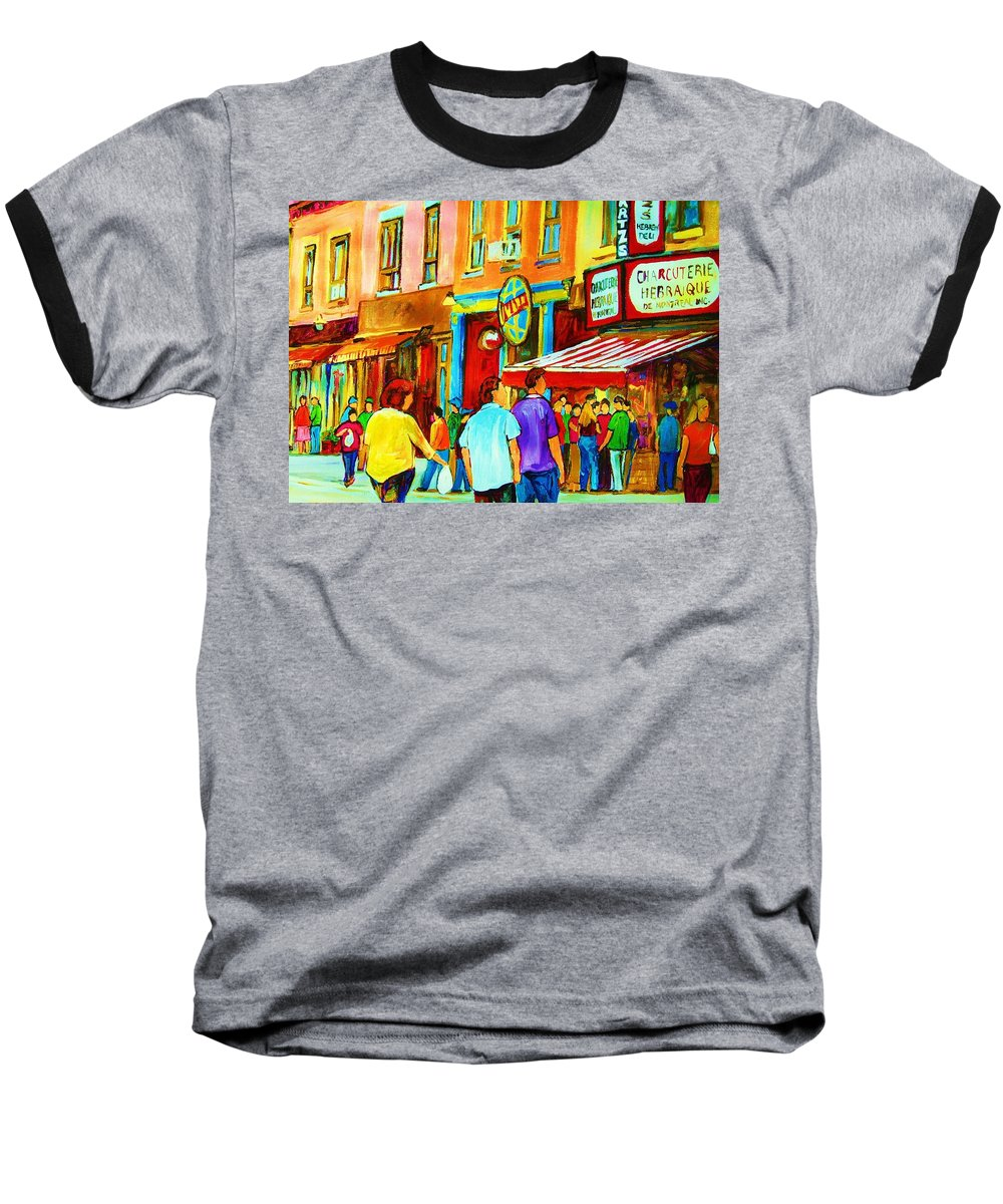 Cityscape Baseball T-Shirt featuring the painting Lets Meet For Lunch by Carole Spandau