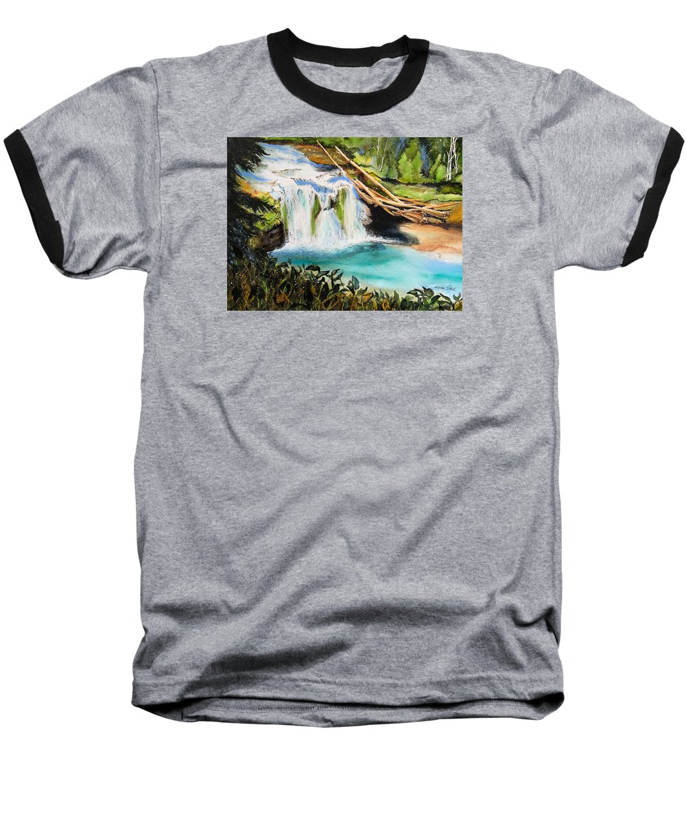 Water Baseball T-Shirt featuring the painting Lewis River Falls by Karen Stark