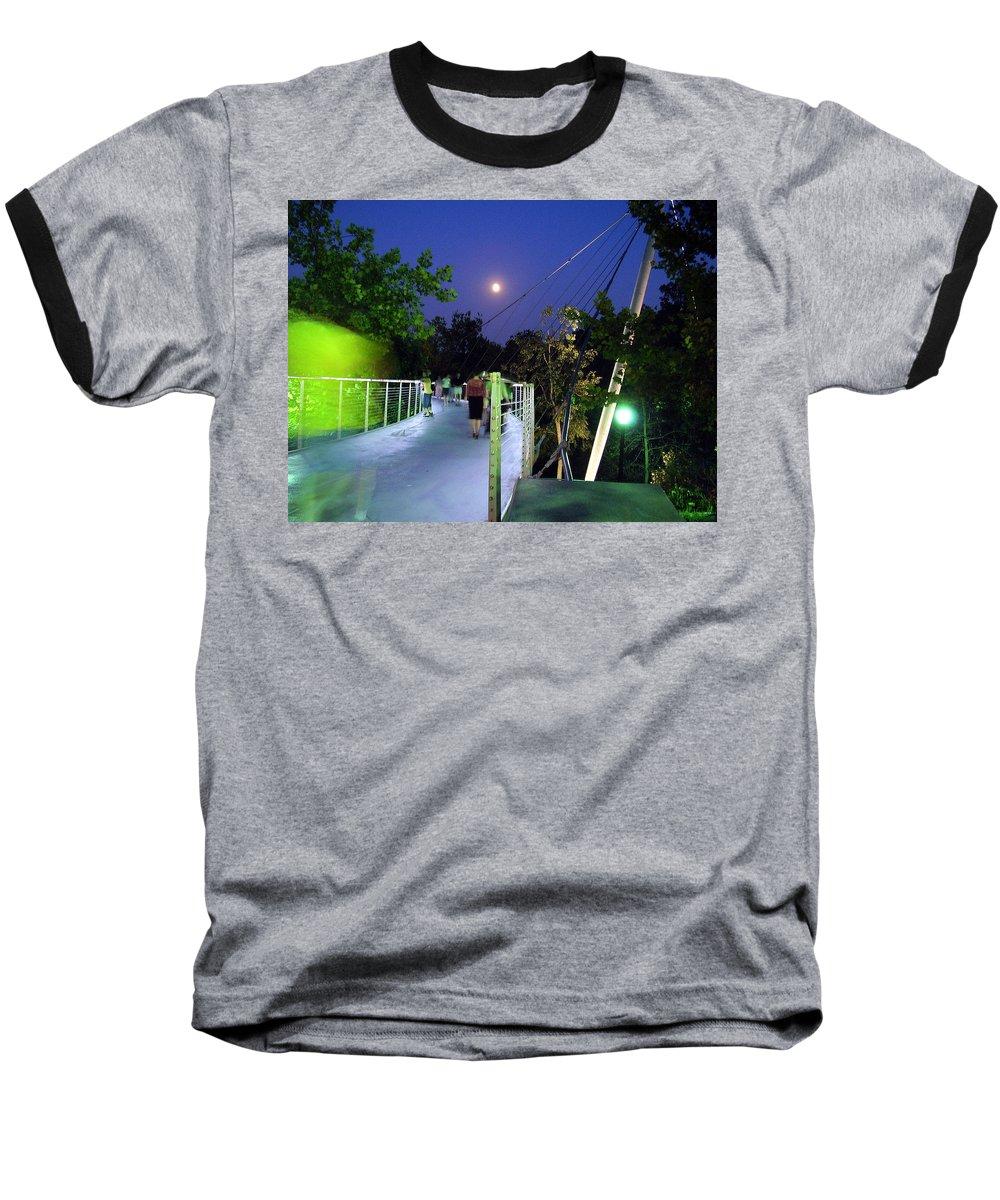 Liberty Bridge Baseball T-Shirt featuring the photograph Liberty Bridge At Night Greenville South Carolina by Flavia Westerwelle