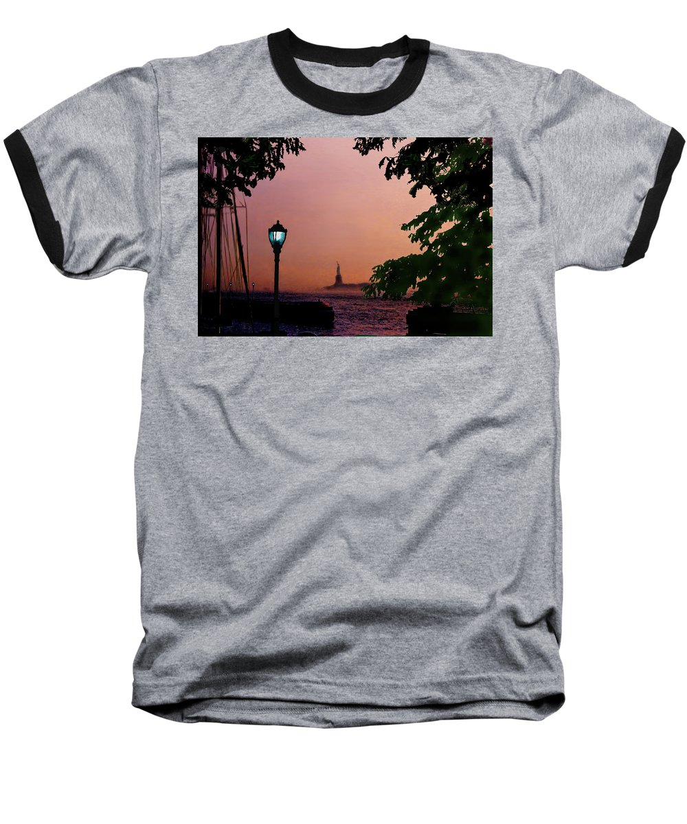 Seascape Baseball T-Shirt featuring the digital art Liberty Fading Seascape by Steve Karol