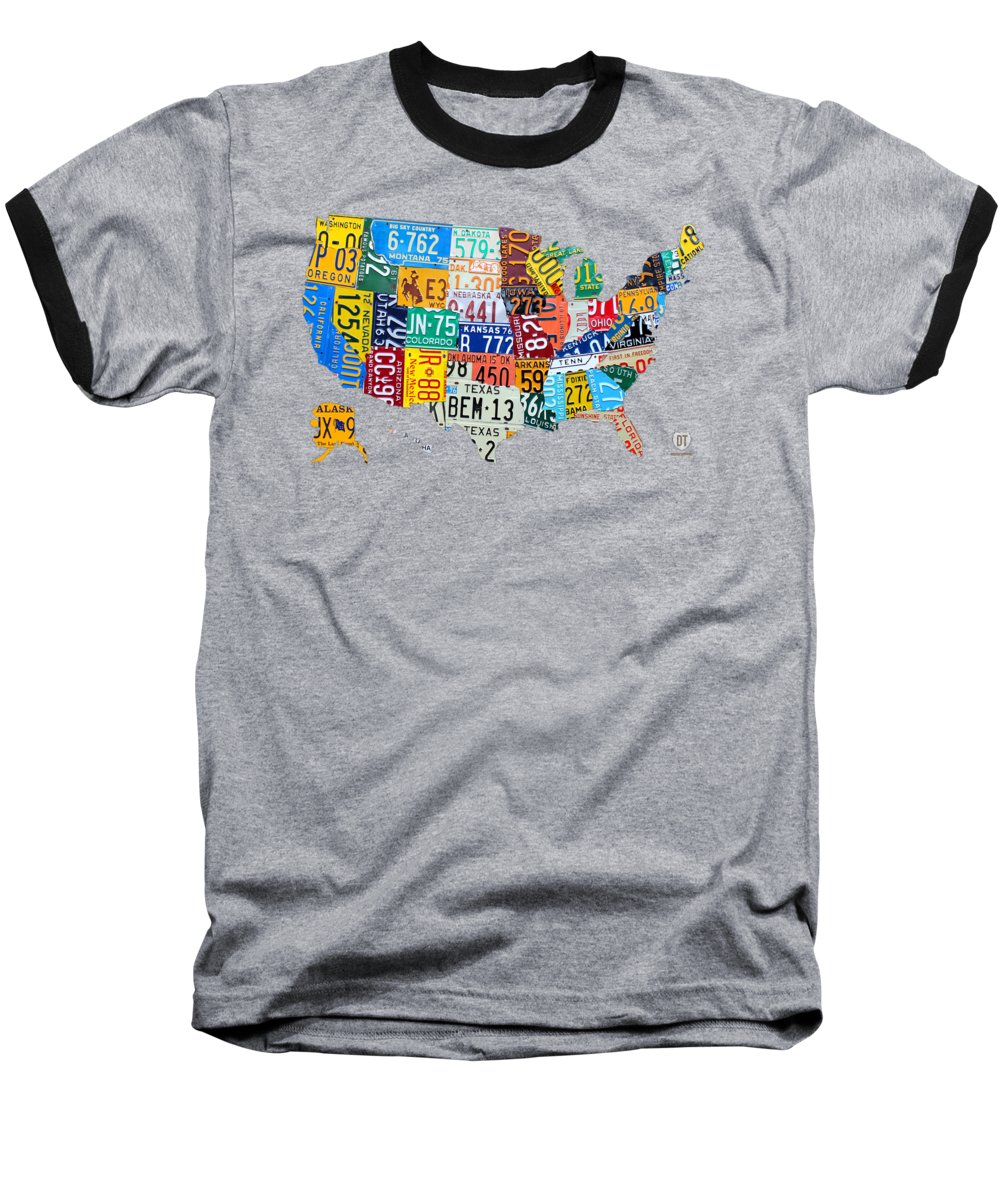 Art Baseball T-Shirt featuring the mixed media License Plate Map Of The United States by Design Turnpike