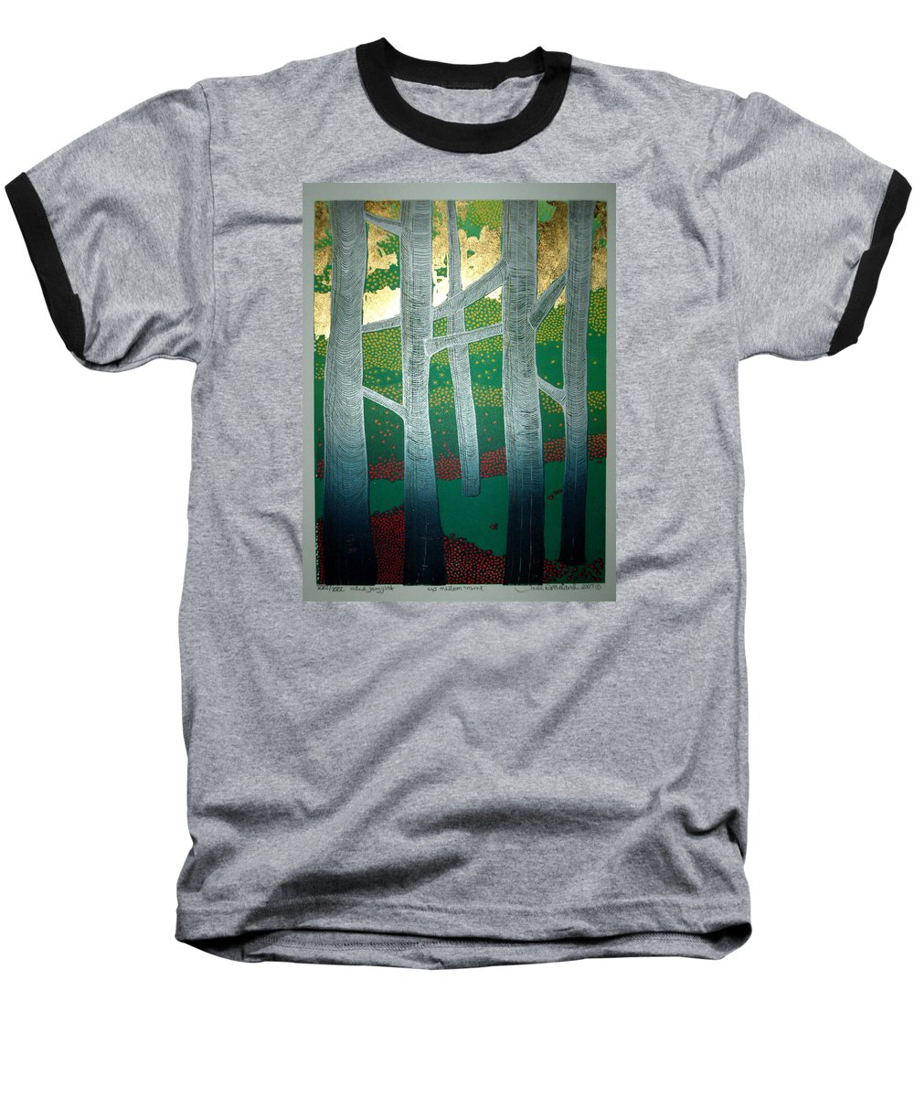 Landscape Baseball T-Shirt featuring the mixed media Light Between The Trees by Jarle Rosseland