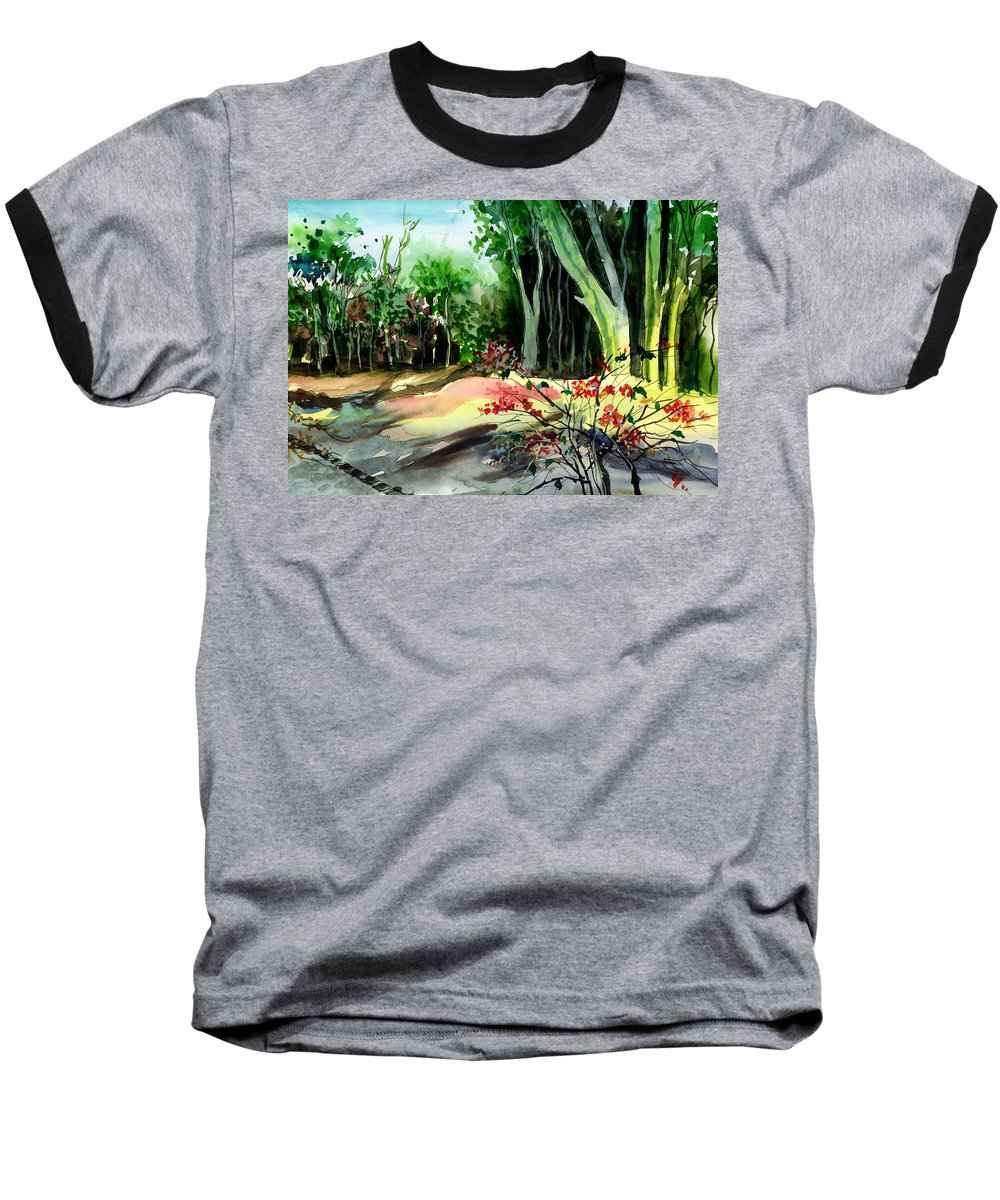 Watercolor Baseball T-Shirt featuring the painting Light In The Woods by Anil Nene