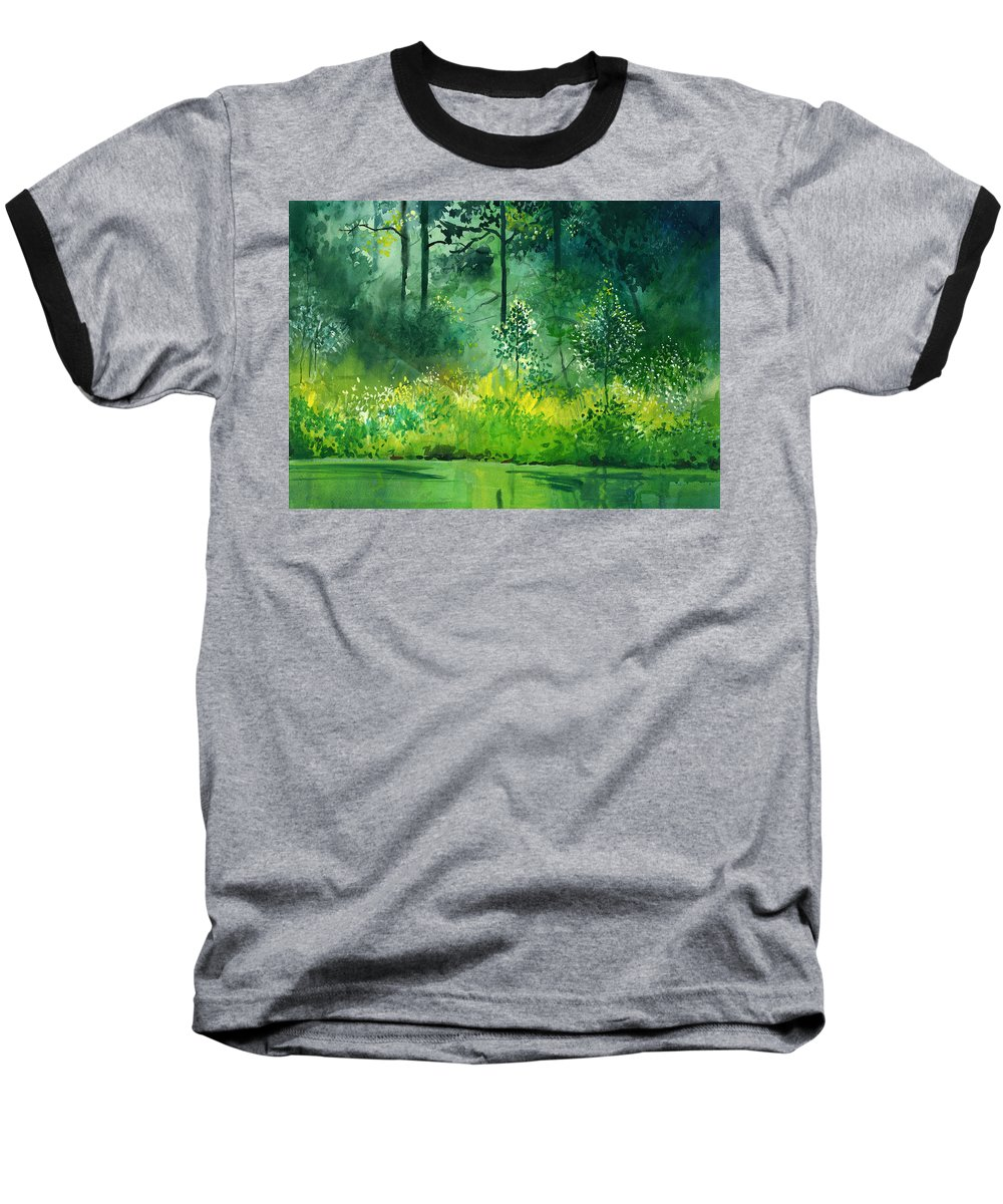 Water Baseball T-Shirt featuring the painting Light N Greens by Anil Nene