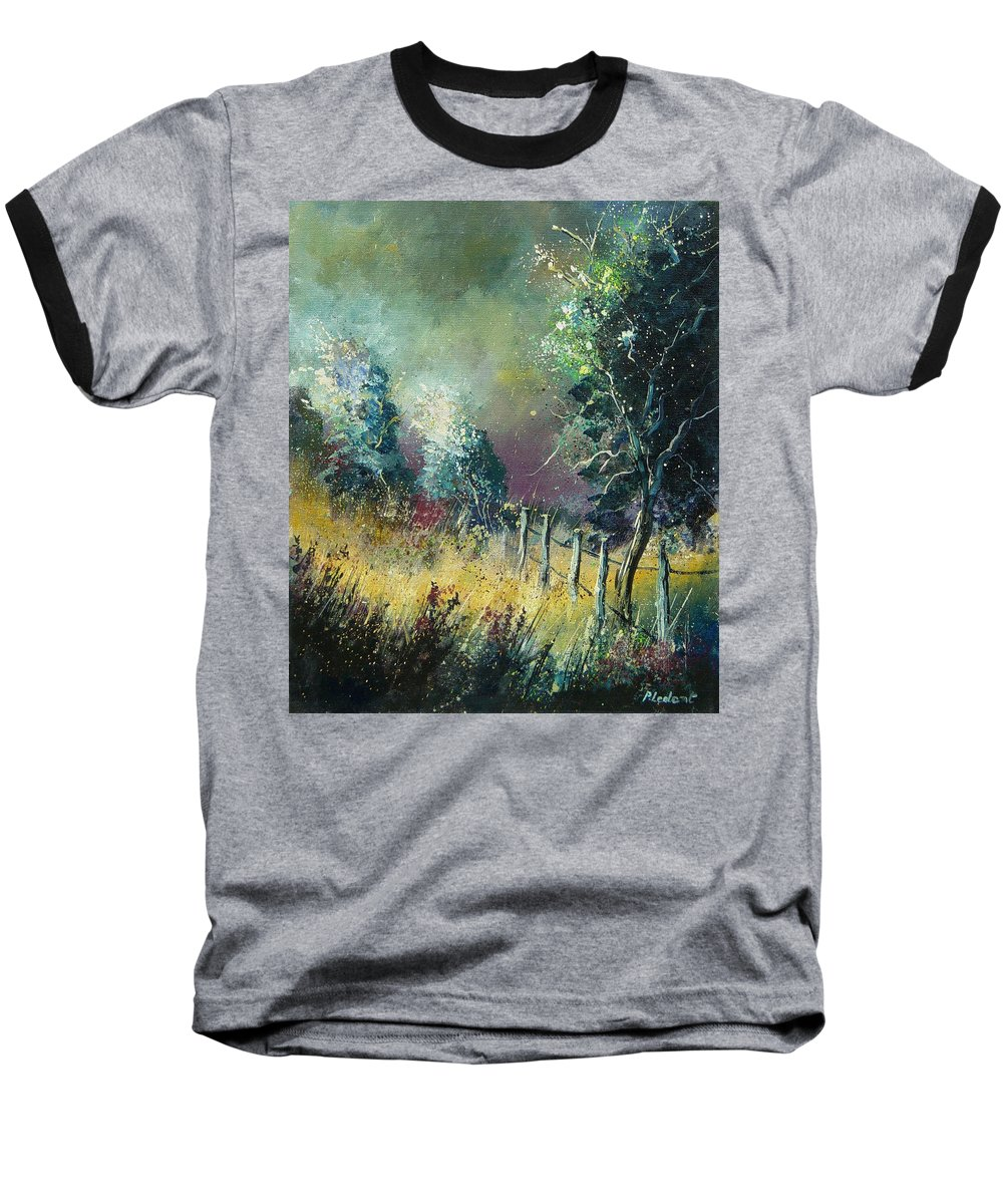 Landscape Baseball T-Shirt featuring the painting Light On Trees by Pol Ledent
