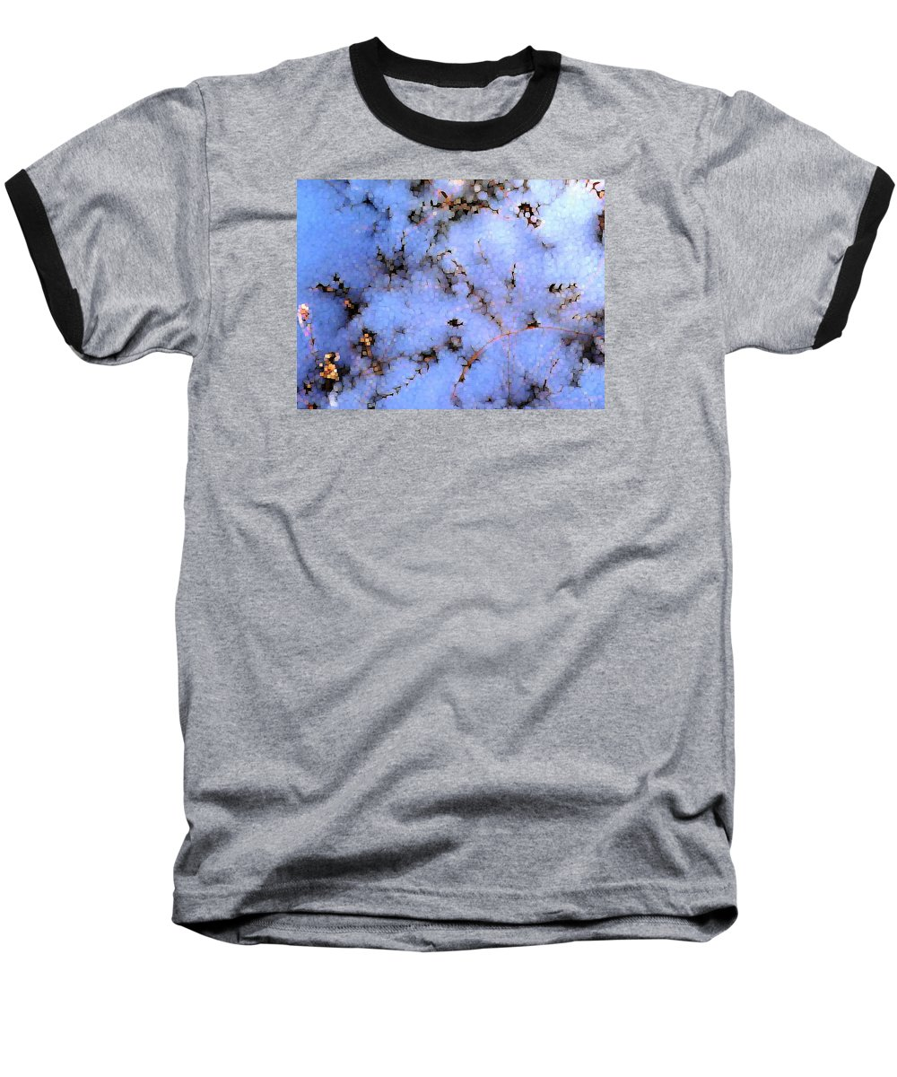 Abstract Baseball T-Shirt featuring the digital art Light Snow In The Woods by Dave Martsolf
