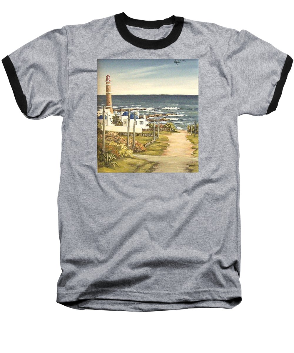 Lighthouse Seascape Sea Water Uruguay Baseball T-Shirt featuring the painting Lighthouse Uruguay by Natalia Tejera