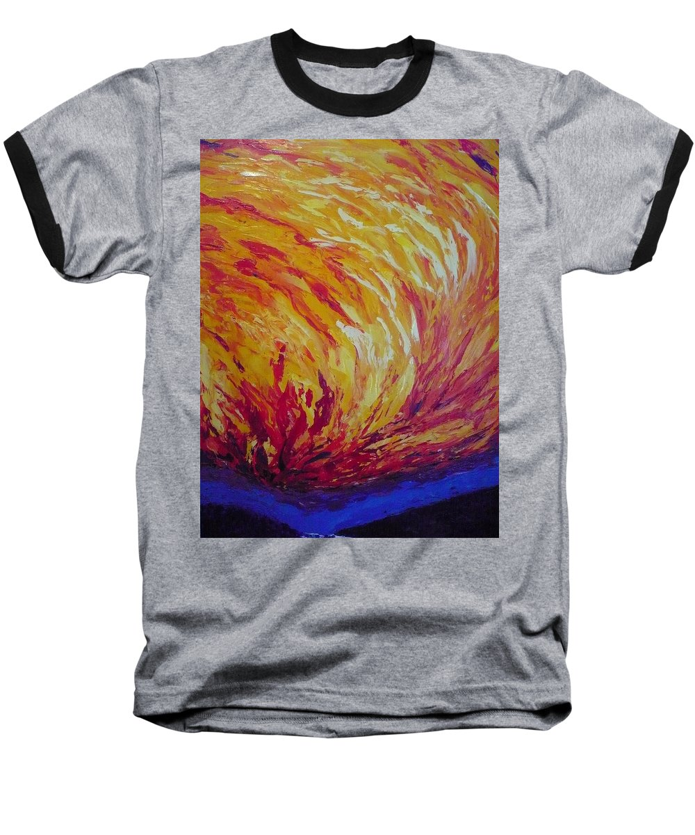 Fire Baseball T-Shirt featuring the painting Lighting A Match by Ericka Herazo