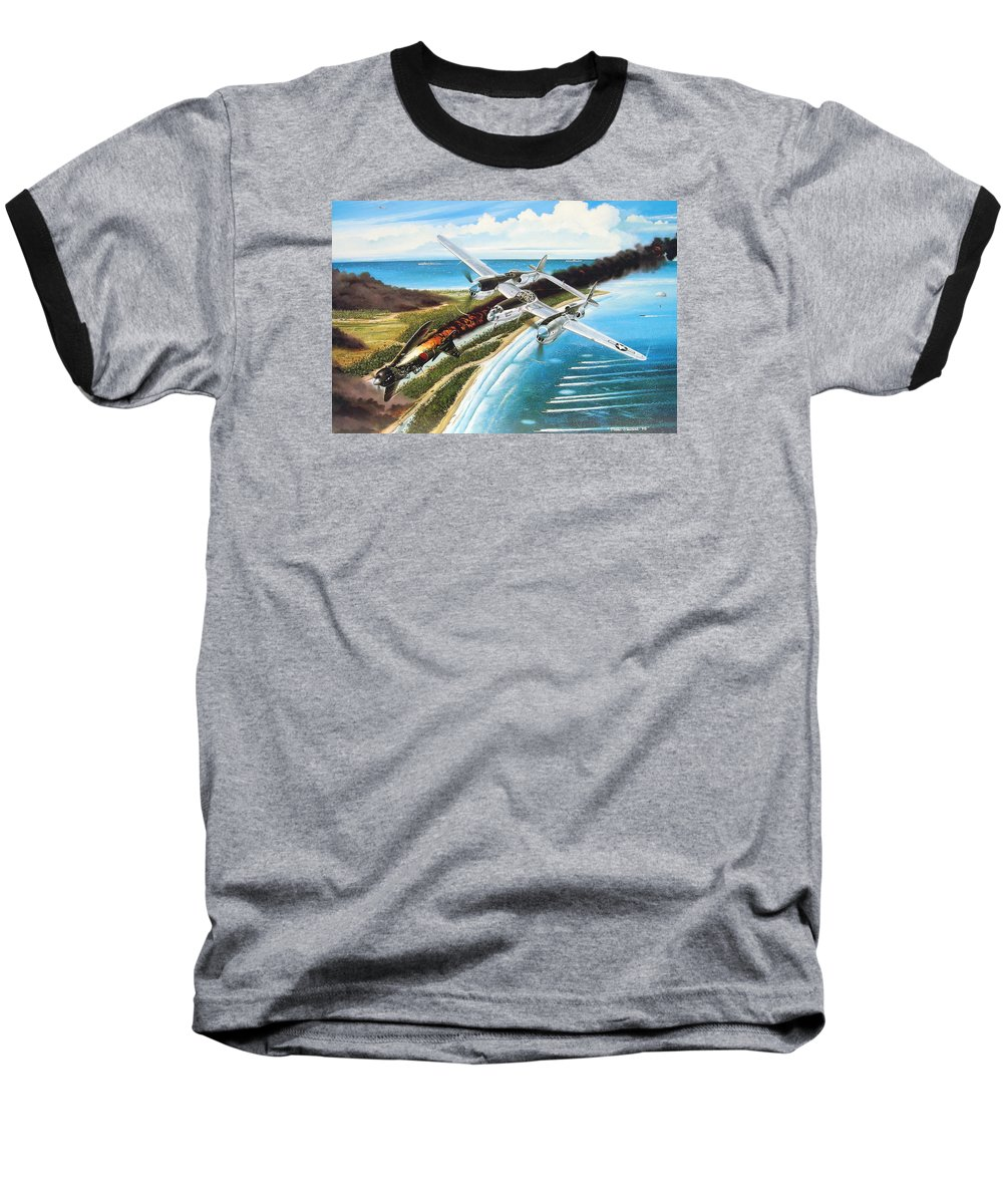 Aviation Baseball T-Shirt featuring the painting Lightning Over Mindoro by Marc Stewart