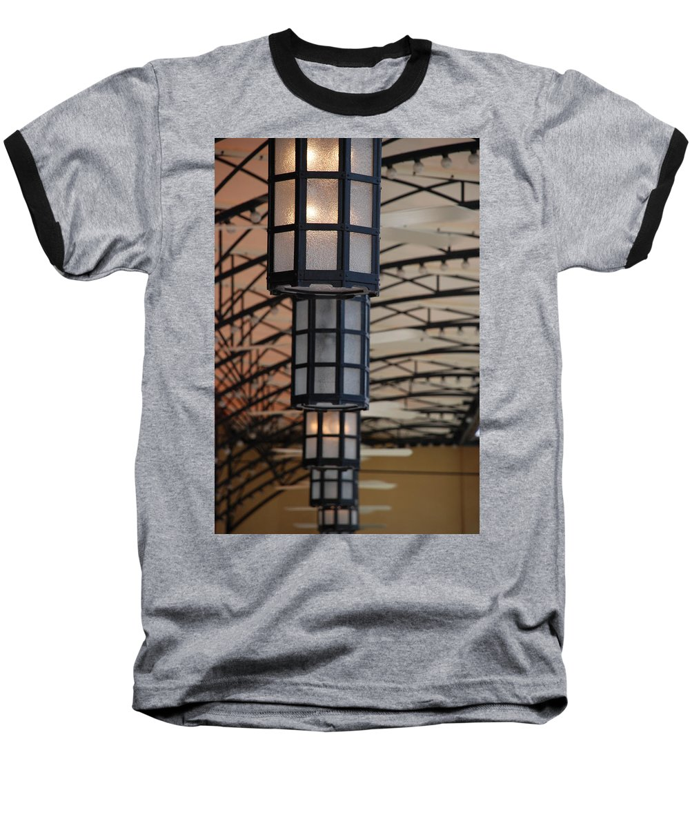 Architecture Baseball T-Shirt featuring the photograph Lights At City Place by Rob Hans