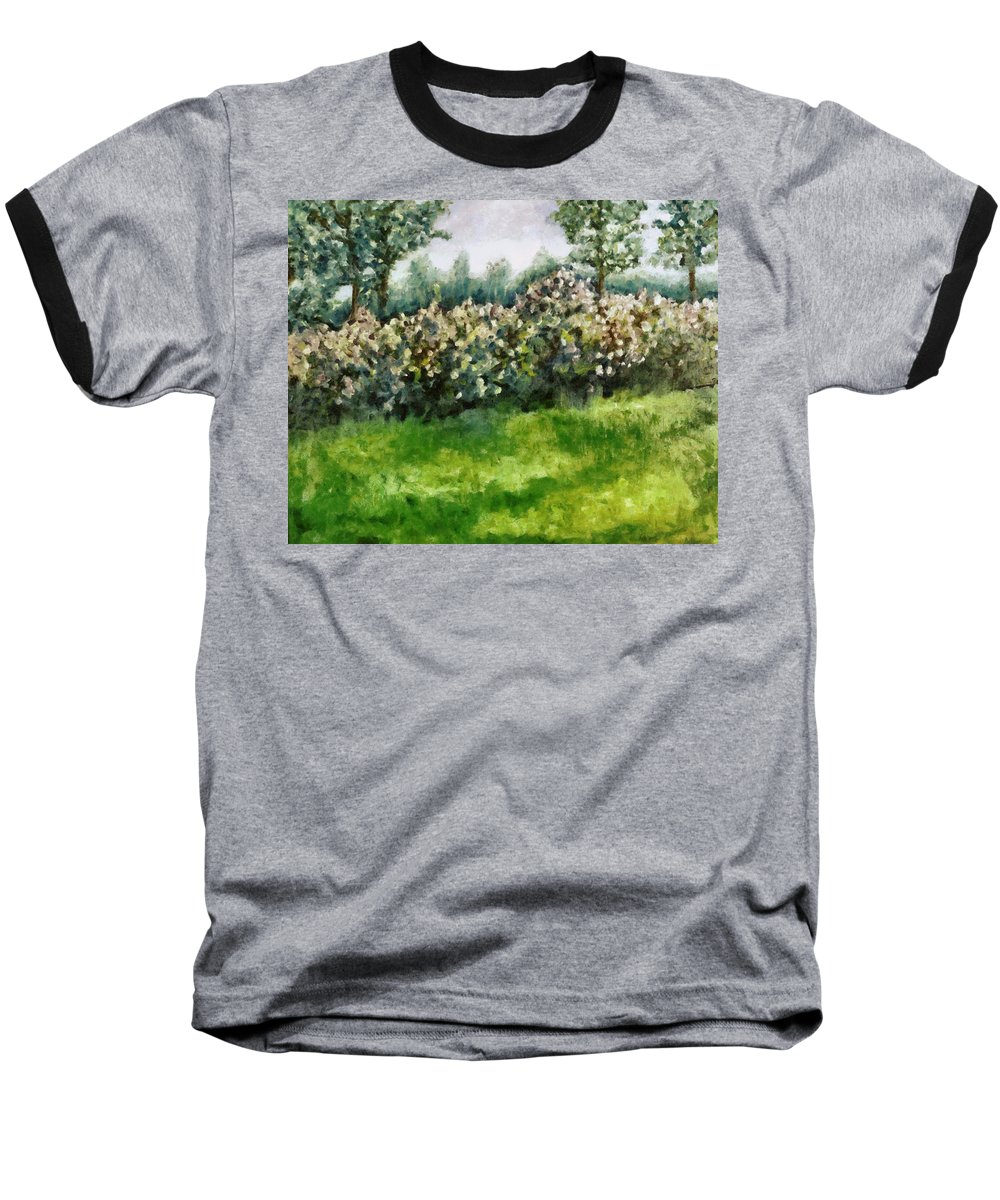 Spring Baseball T-Shirt featuring the painting Lilac Bushes In Springtime by Michelle Calkins