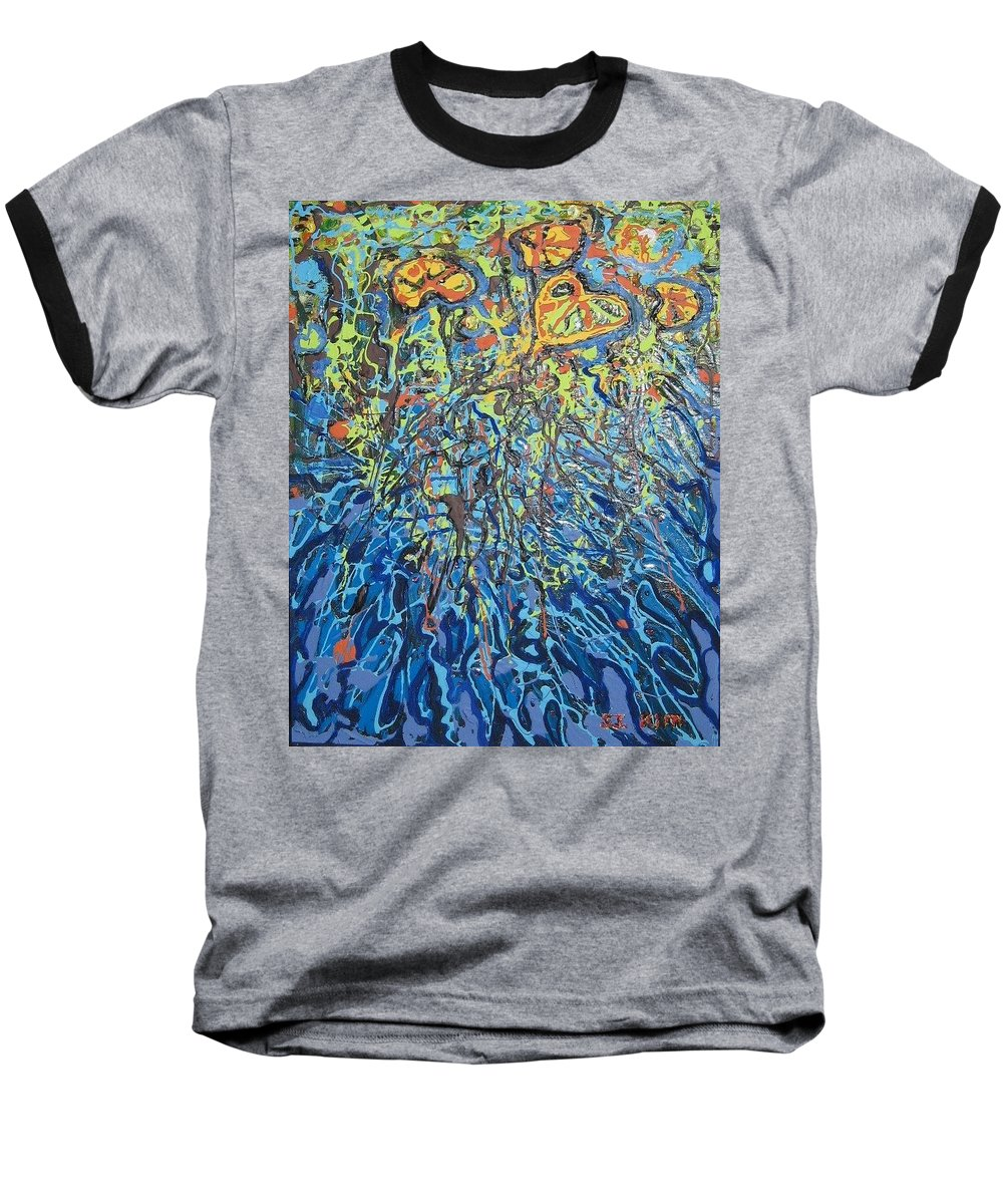 Lily Pads Paintings Baseball T-Shirt featuring the painting Lily Pads Water Lily Paintings by Seon-Jeong Kim