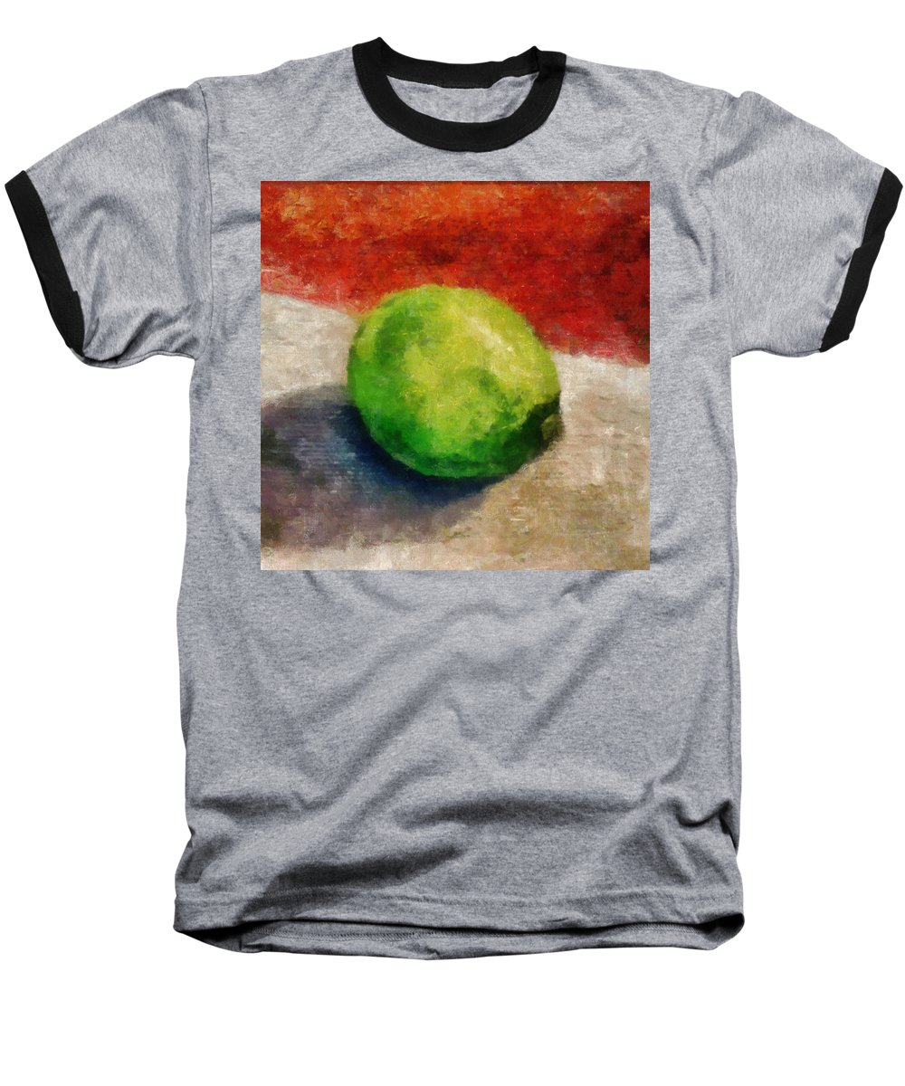 Lime Baseball T-Shirt featuring the painting Lime Still Life by Michelle Calkins