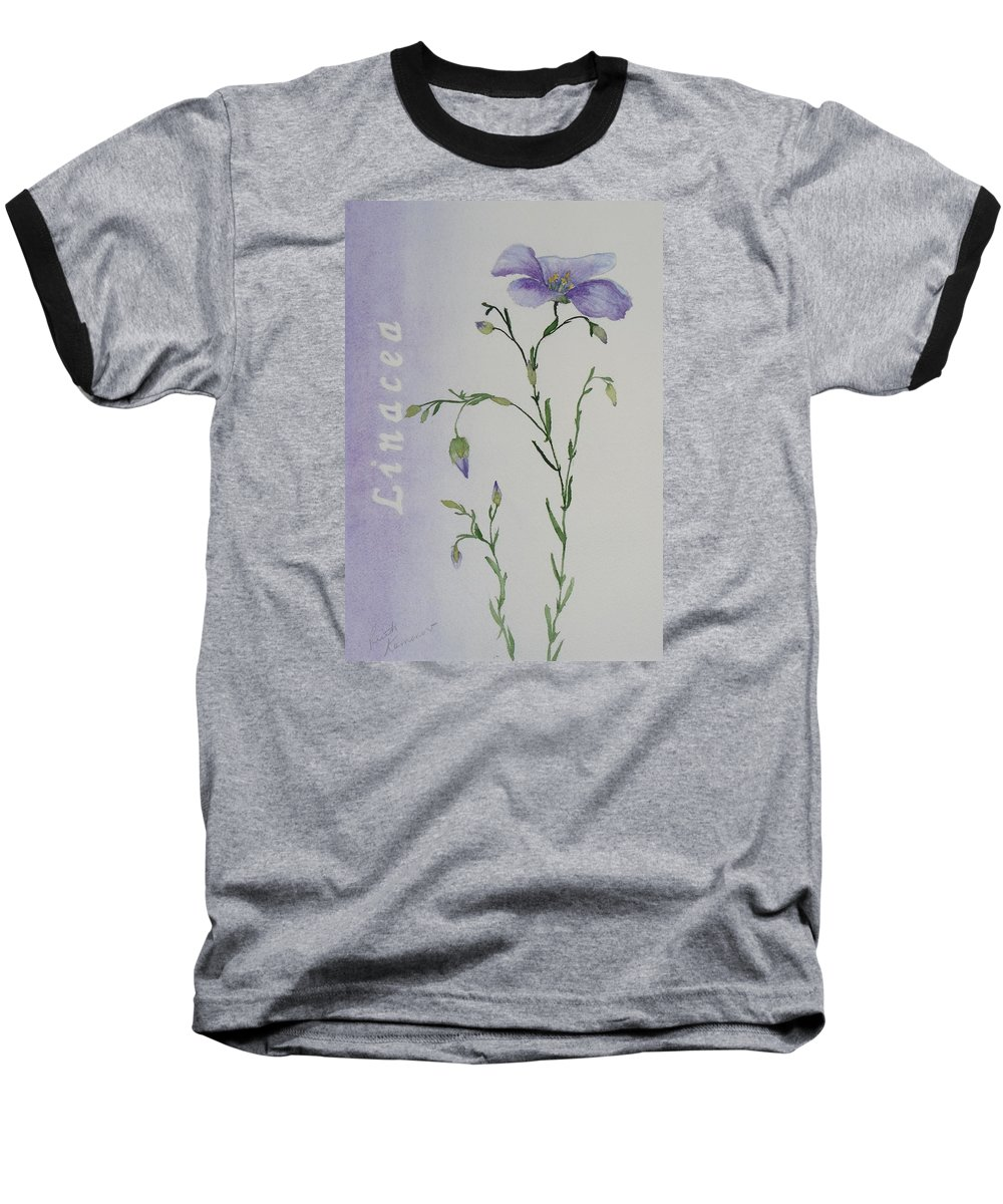 Flower Baseball T-Shirt featuring the painting Linacea by Ruth Kamenev