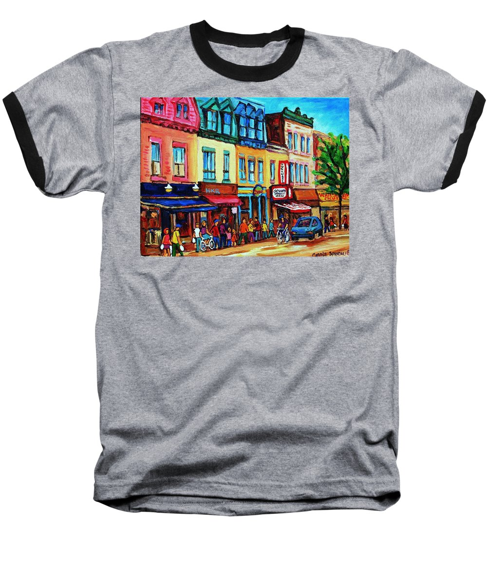 Cityscape Baseball T-Shirt featuring the painting Lineup For Smoked Meat Sandwiches by Carole Spandau