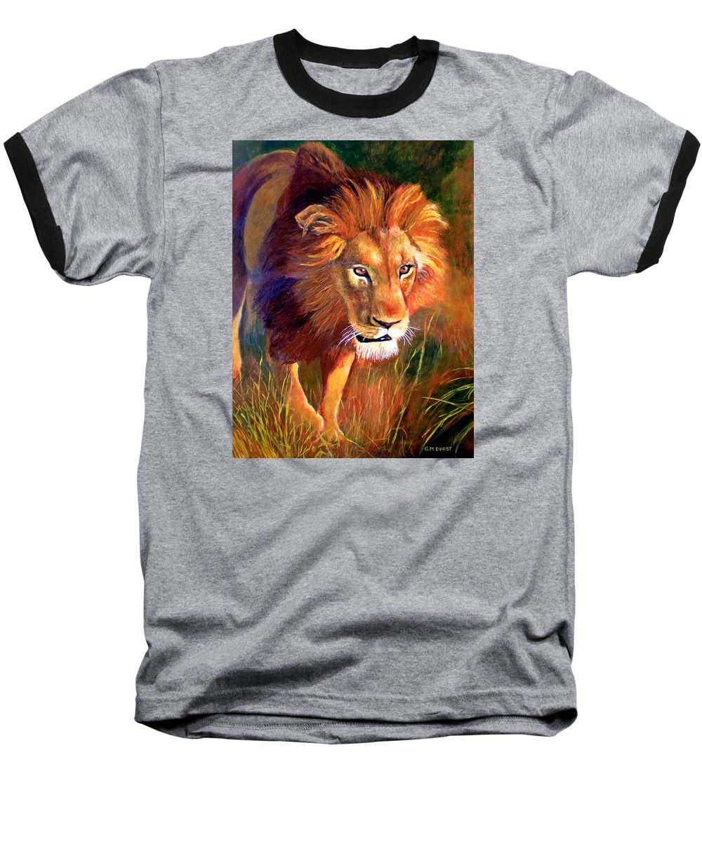 Lion Baseball T-Shirt featuring the painting Lion At Sunset by Michael Durst