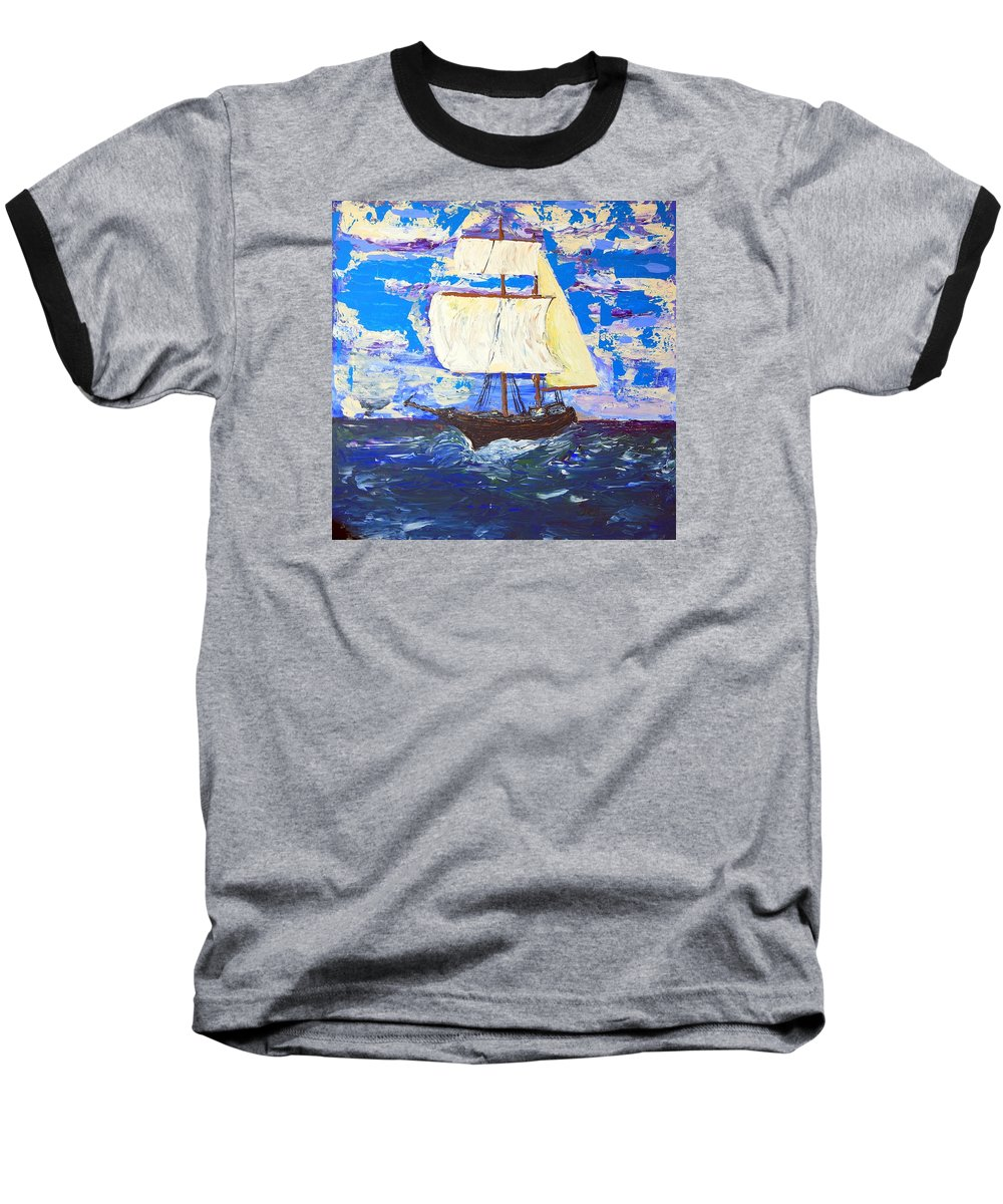 Clipper Baseball T-Shirt featuring the painting Little Clipper by J R Seymour