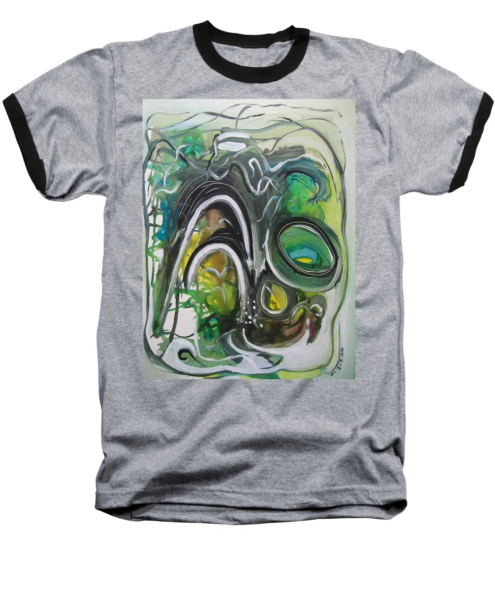 Abstract Paintings Baseball T-Shirt featuring the painting little impression on Alexander trail by Seon-Jeong Kim
