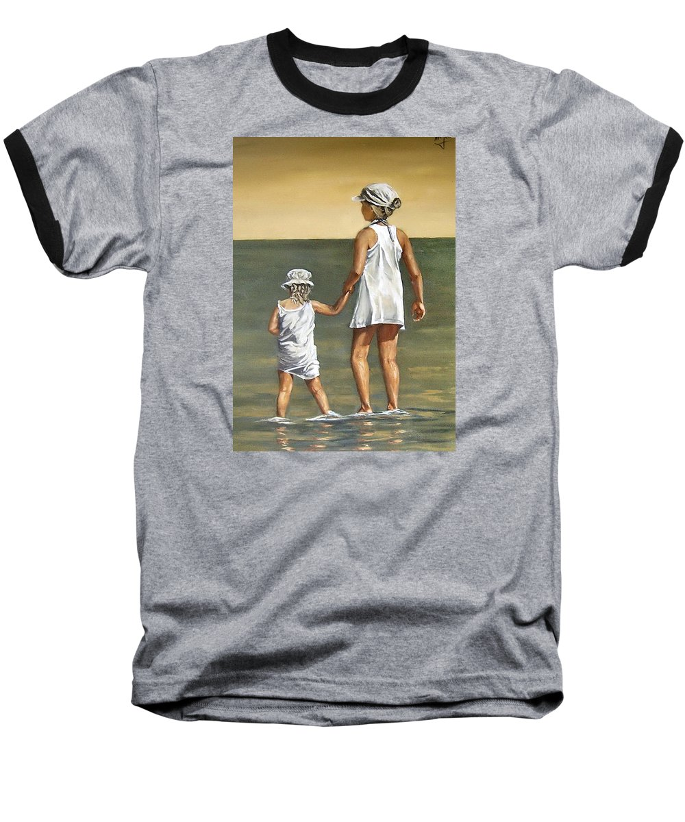 Little Girl Reflection Girls Kids Figurative Water Sea Seascape Children Portrait Baseball T-Shirt featuring the painting Little Sisters by Natalia Tejera