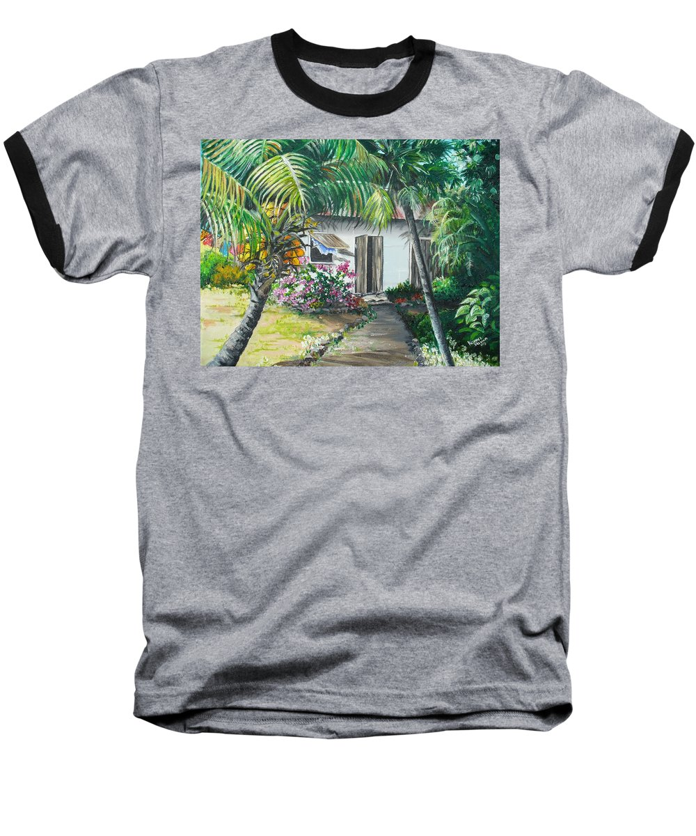 Caribbean Painting Typical Country House In Trinidad And The Islands With Coconut Tree Tropical Painting Baseball T-Shirt featuring the painting Little West Indian House 2...sold by Karin Dawn Kelshall- Best