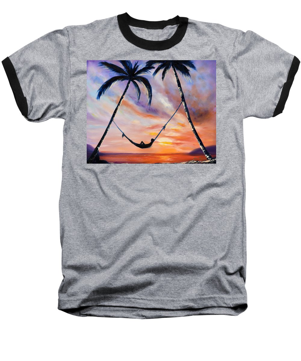 Sunset Baseball T-Shirt featuring the painting Living The Dream by Gina De Gorna